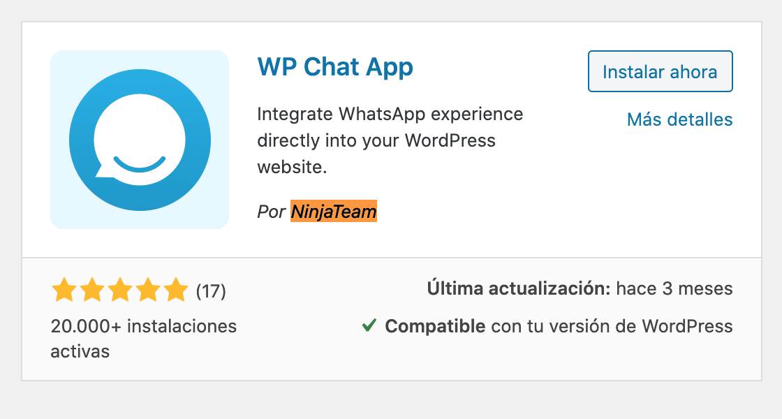 Instala WP Chat App desde Wordpress